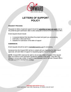 Onward NRV Letters of Support Policy