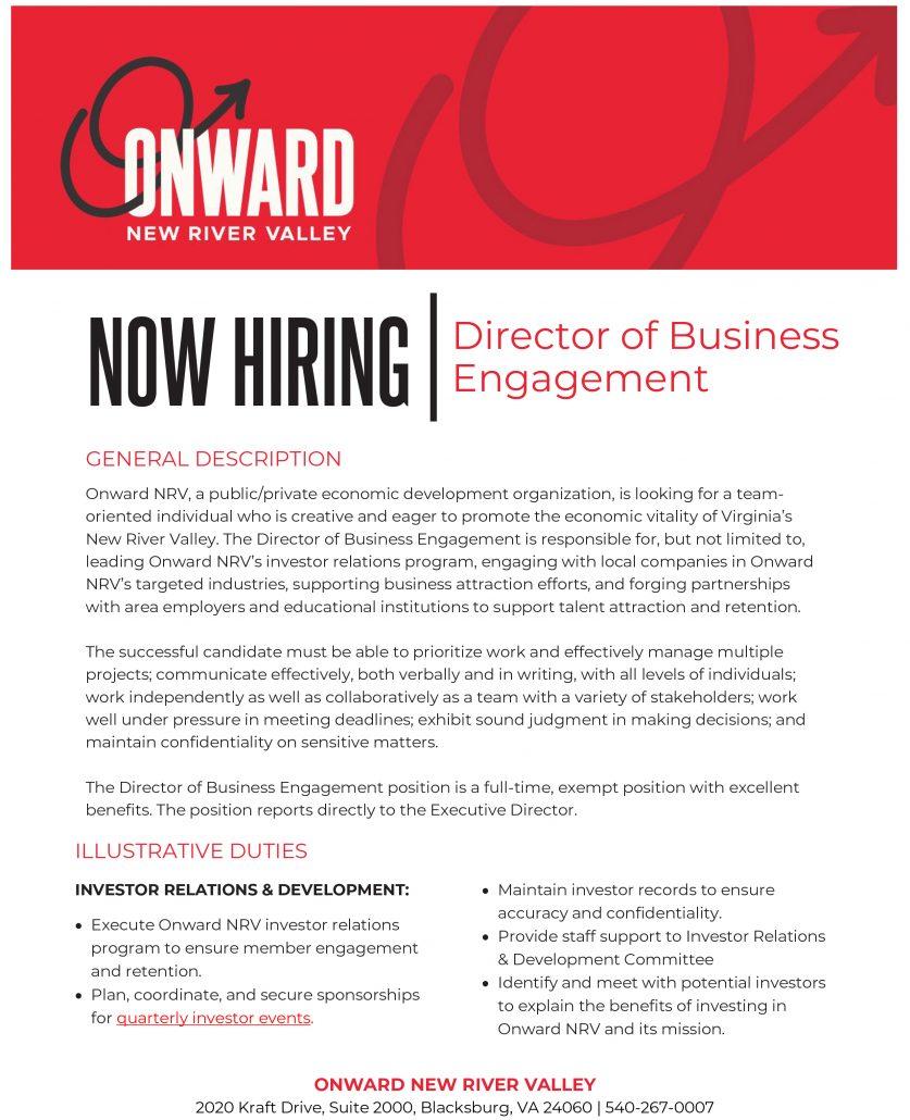 Onward NRV Director of Business Engagement Job Posting