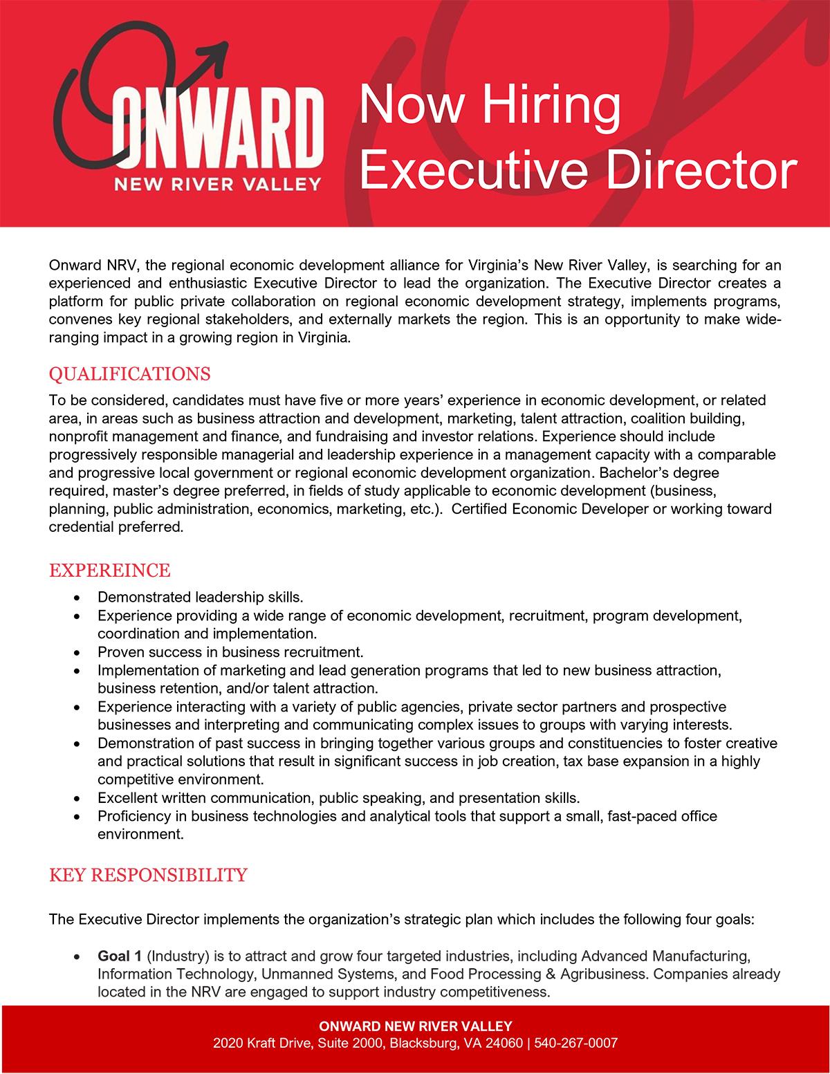 Onward NRV Executive Director Job Brochure